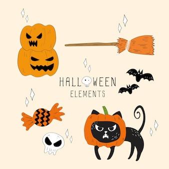 Vector set of halloween elements.