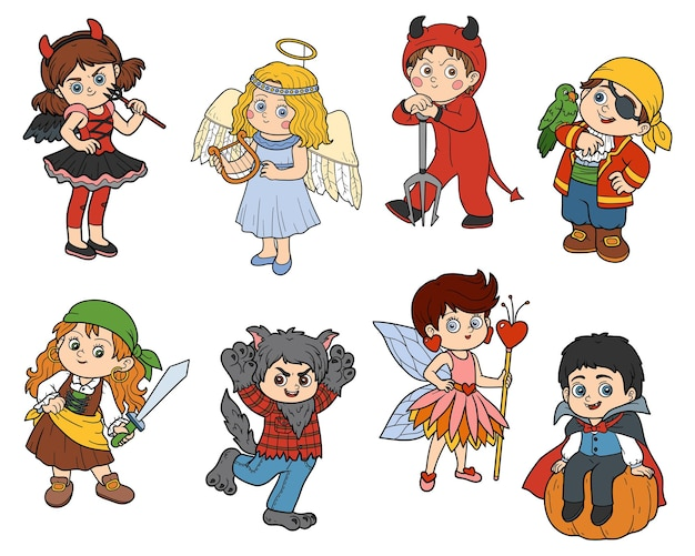 Vector set of halloween kids characters colorful stickers with children in carnival costumes