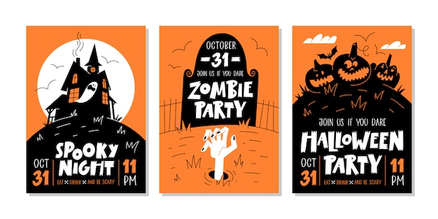 Vector set of halloween party invitations or greeting cards with handwritten text and traditional symbols. vector illustration