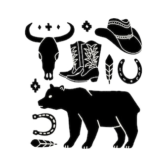 Vector set of hand draw elements of the wild west. cowboy western icons in monochrome. design elements for logo, label, emblem, sign, badge. cowboy hat, boots, cow skull, horseshoe, feather, bear.