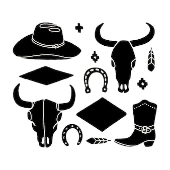 Vector set of hand draw elements of the wild west. cowboy western icons in monochrome. design elements for logo, label, emblem, sign, badge. cowboy hat, boots, cow skull, horseshoe, feather