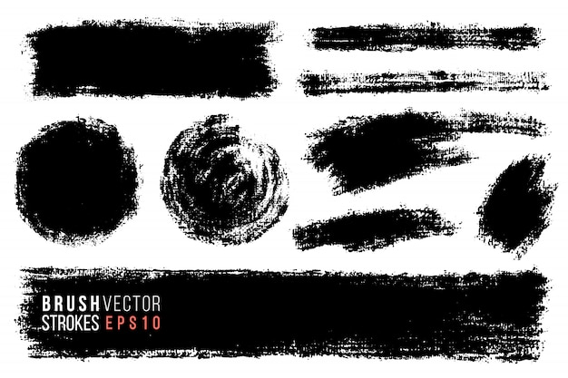Vector set of hand drawn brush strokes.