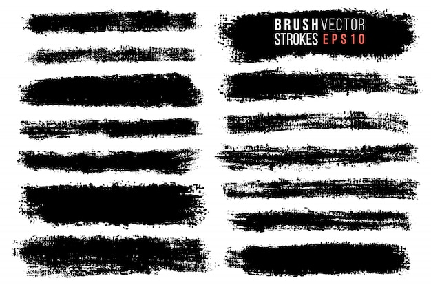 Vector set of hand drawn brush strokes