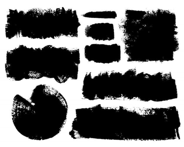 Vector set of hand drawn brush strokes