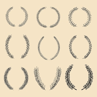 Vector set of hand drawn different floral laurels and wreaths.