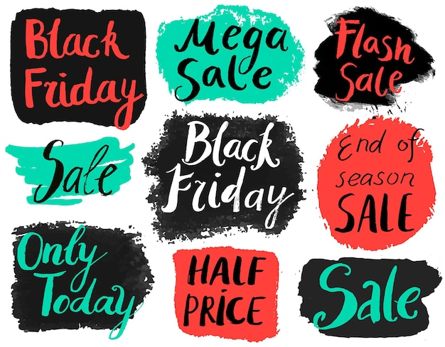 Vector set of hand drawn grunge sale banners, doodle brush lettering promotion banners, tags. black friday, only today, end of season, flash sale, half price
