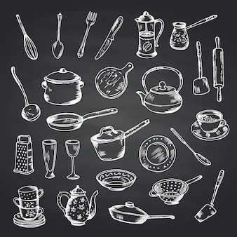 Vector set of hand drawn kitchen utensils on black chalkboard illustration