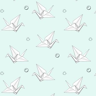 Vector set of hand drawn origami pattern