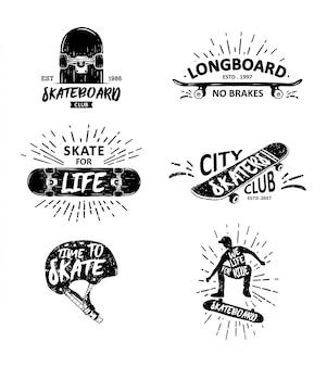 Vector set hand drawn skateboard illustration