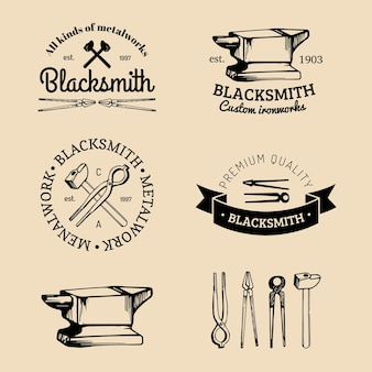 Vector set of hand sketched blacksmith logos. vintage farrier labels collection.