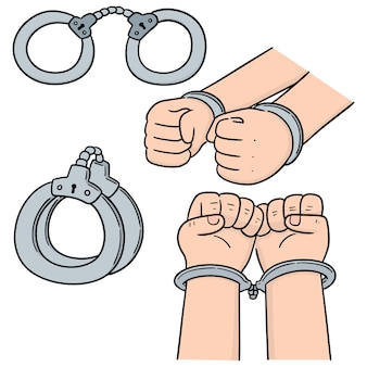 Vector set of handcuff
