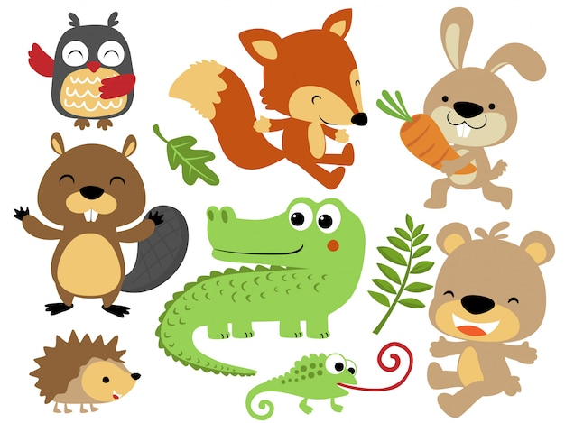 Vector set of happy animals cartoon