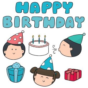 Vector set of happy birthday