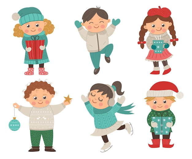 Vector set of happy children in different poses for christmas design. cute winter kids illustration with presents, decorations, hot drink. funny boy jumping with joy