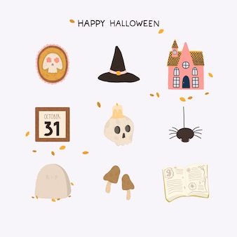 Vector set of happy halloween design elements in hand drawn style