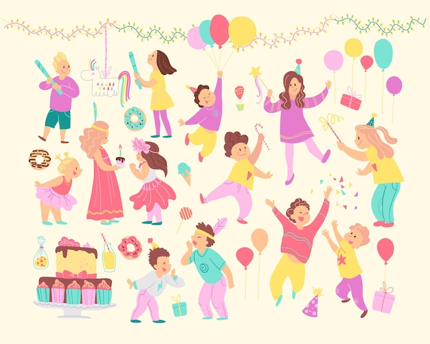 Vector set of happy kids celebrating birthday party and different decor elements - garlands, bd cake, candy, balloons, gifts isolated. flat cartoon style. good for cards, invitations, patterns, tags.