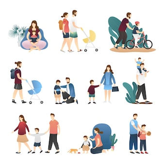 Vector set of happy loving family scenes
