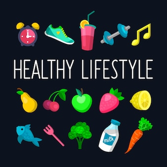 Vector set of healthy lifestyle icons in trendy flat style.