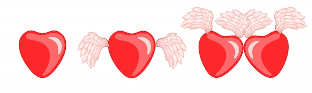Vector set hearts with wings for valentine's day.