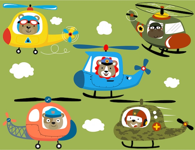 Vector set of helicopter cartoon with animal pilots