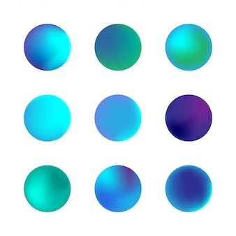 Vector set of holographic gradient sphere. blue neon circle gradients. colorful round buttons isolated on white background.