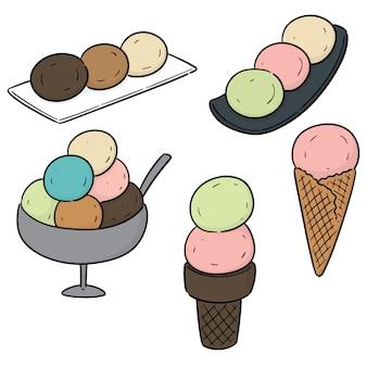 Vector set of ice creams