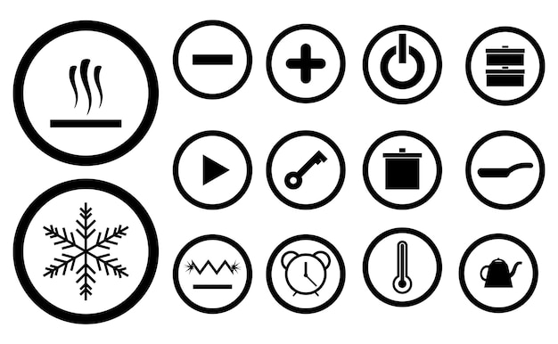 Vector set of icons for electric induction stove or hob