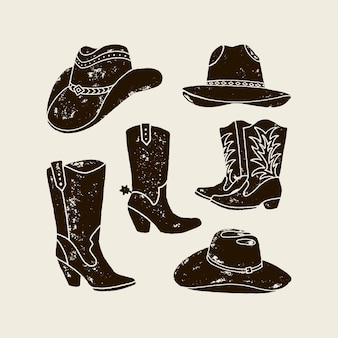 Vector set illustration of cowboy hat and boots silhouette in vintage style , grunge effect. elements of the wild west for the design of posters, postcards, lettering, prints for t-shirts.
