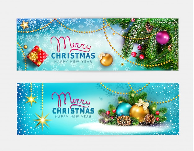 Vector set, illustration for merry christmas and happy new year