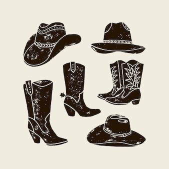 Векторный набор иллюстрации ковбойской шляпы и сапог силуэт в винтажном стиле, гранж-эффект. элементы дикого запада для дизайна плакатов, открыток, надписей, принтов для футболок.