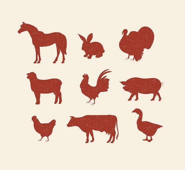 Векторный набор иллюстрации красный эскиз силуэты сельскохозяйственных животных коллекция свиней, коров, лошадей, ягненка и б ...