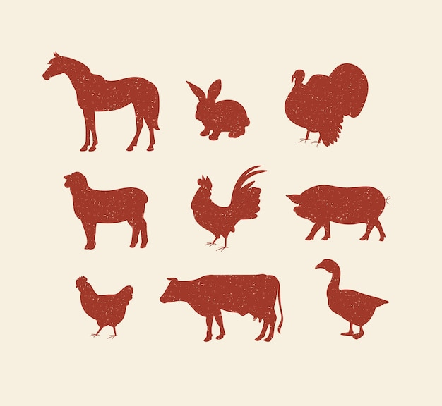 Vector set illustration red sketch silhouettes farm animals a collection of pig cow horse lamb and b...