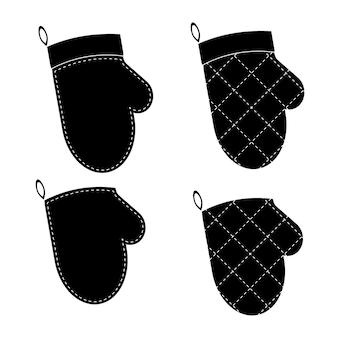 Vector set of illustrations of gloves for hot set of potholders