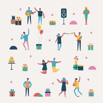 Векторный набор в плоском стиле группы счастливых друзей, празднующих день рождения на вечеринке