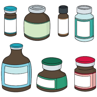 Vector set of injection medicine vial