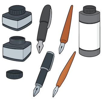 Vector set of ink and fountain pen