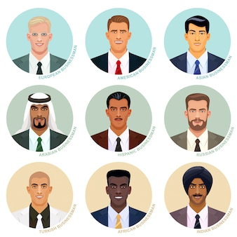 Vector set of international businessman portraits. handsome male avatars. faces of a different nations. caucasian, asian, indian and other ethnic userpics in the round frames.