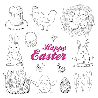 Vector set of isolated easter eggs and twigs