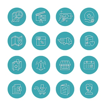 Vector set of isolated round icons for highlights and categories