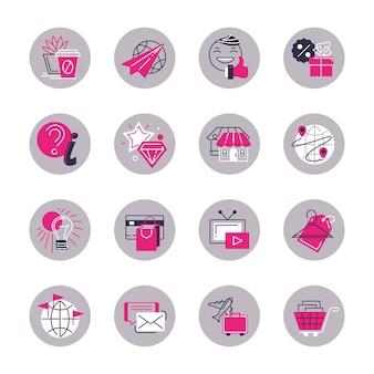 Vector set of isolated round icons, stylized for women.