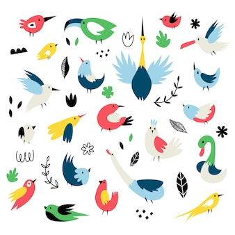 Vector set of isolates with cute birds in scandinavian style
