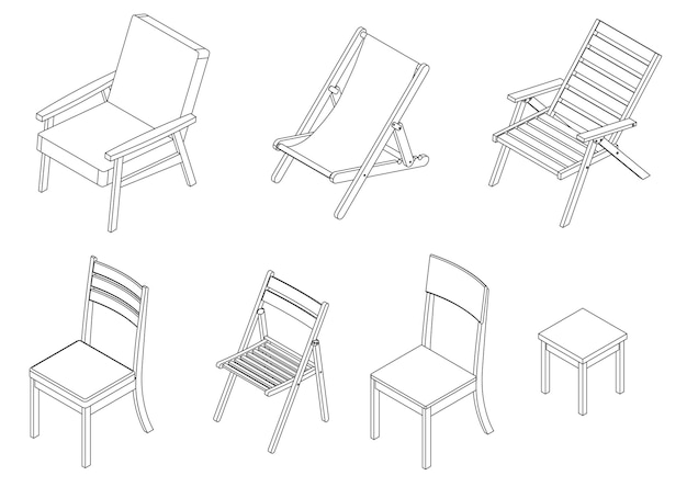 Vector set of isometric chairs - outline illustration