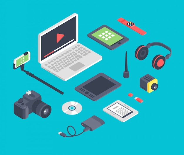 Vector set of isometric designer workplace table devices icons