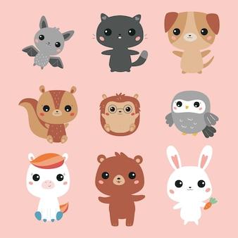 Vector set of kawaii animals