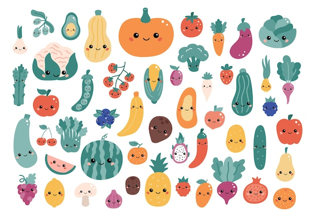 Vector set of kawaii cartoon vegetables and fruits with funny faces