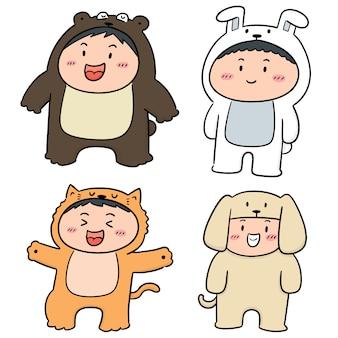 Vector set of kids wearing animal suits