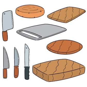 Vector set of knife and chopping block