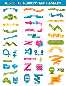 Vector set of labels, stickers and ribbons on white