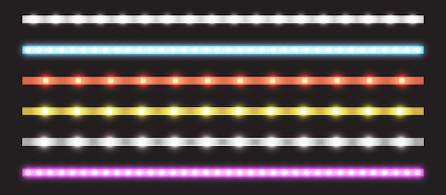 Vector set of led strips with neon glow effect