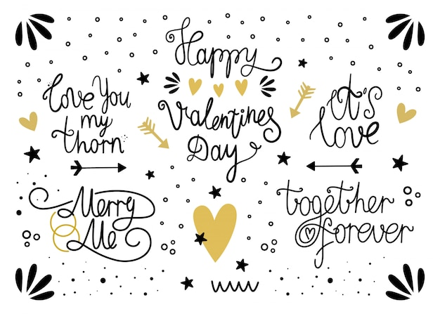 Vector set of lettering for valentine's day